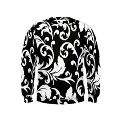 Vector Classical Traditional Black And White Floral Patterns Kids  Sweatshirt