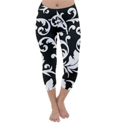 Vector Classical Traditional Black And White Floral Patterns Capri Winter Leggings