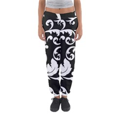 Vector Classical Traditional Black And White Floral Patterns Women s Jogger Sweatpants