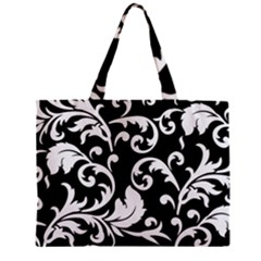Vector Classical trAditional Black And White Floral Patterns Zipper Mini Tote Bag