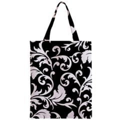 Vector Classical Traditional Black And White Floral Patterns Zipper Classic Tote Bag