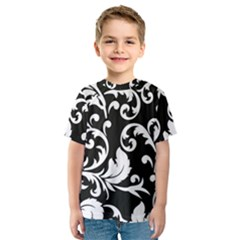 Vector Classical Traditional Black And White Floral Patterns Kids  Sport Mesh Tee