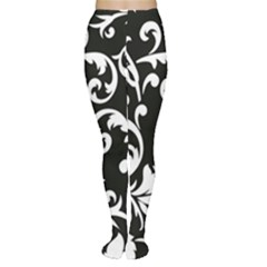 Vector Classical Traditional Black And White Floral Patterns Women s Tights