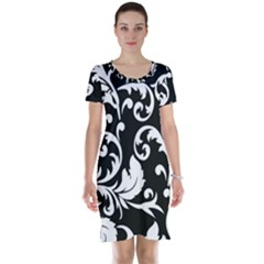 Vector Classical trAditional Black And White Floral Patterns Short Sleeve Nightdress