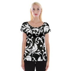Vector Classical Traditional Black And White Floral Patterns Women s Cap Sleeve Top