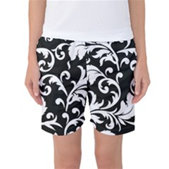 Vector Classical Traditional Black And White Floral Patterns Women s Basketball Shorts