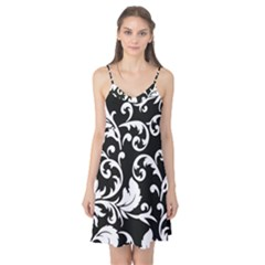 Vector Classical trAditional Black And White Floral Patterns Camis Nightgown