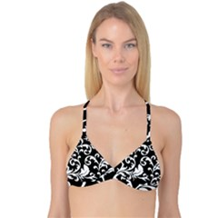 Vector Classical Traditional Black And White Floral Patterns Reversible Tri Bikini Top
