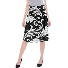 Vector Classical Traditional Black And White Floral Patterns Midi Beach Skirt