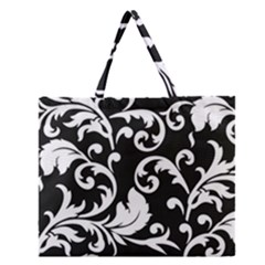 Vector Classical Traditional Black And White Floral Patterns Zipper Large Tote Bag