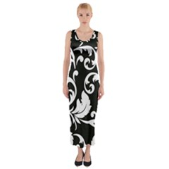 Vector Classical Traditional Black And White Floral Patterns Fitted Maxi Dress