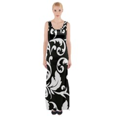 Vector Classical Traditional Black And White Floral Patterns Maxi Thigh Split Dress