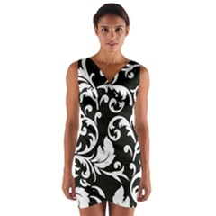 Vector Classical trAditional Black And White Floral Patterns Wrap Front Bodycon Dress