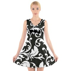 Vector Classical Traditional Black And White Floral Patterns V Neck Sleeveless Skater Dress
