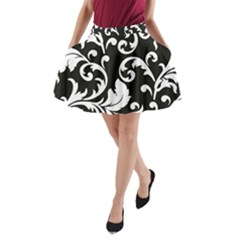 Vector Classical Traditional Black And White Floral Patterns A Line Pocket Skirt