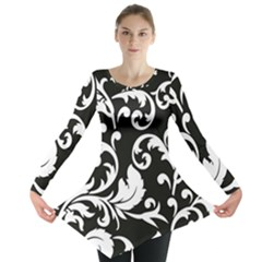 Vector Classical Traditional Black And White Floral Patterns Long Sleeve Tunic