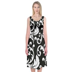 Vector Classical Traditional Black And White Floral Patterns Midi Sleeveless Dress