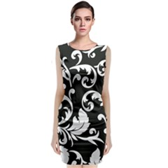 Vector Classical Traditional Black And White Floral Patterns Classic Sleeveless Midi Dress