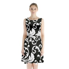 Vector Classical Traditional Black And White Floral Patterns Sleeveless Chiffon Waist Tie Dress
