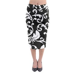Vector Classical Traditional Black And White Floral Patterns Midi Pencil Skirt