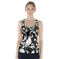 Vector Classical Traditional Black And White Floral Patterns Racer Back Sports Top