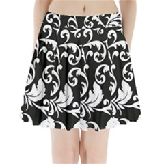 Vector Classical Traditional Black And White Floral Patterns Pleated Mini Skirt