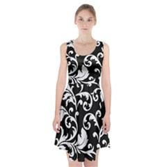 Vector Classical trAditional Black And White Floral Patterns Racerback Midi Dress