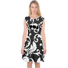 Vector Classical Traditional Black And White Floral Patterns Capsleeve Midi Dress