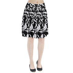 Vector Classical trAditional Black And White Floral Patterns Pleated Skirt