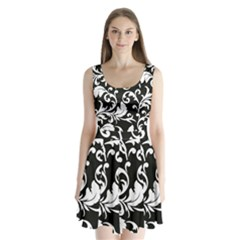 Vector Classical Traditional Black And White Floral Patterns Split Back Mini Dress