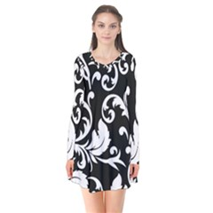 Vector Classical Traditional Black And White Floral Patterns Flare Dress