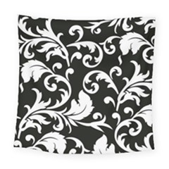 Vector Classical Traditional Black And White Floral Patterns Square Tapestry (large)