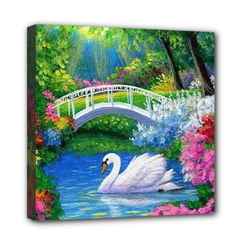 Swan Bird Spring Flowers Trees Lake Pond Landscape Original Aceo Painting Art Mini Canvas 8  x 8