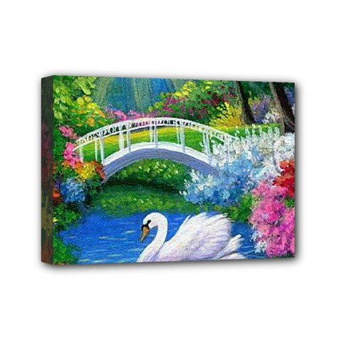Swan Bird Spring Flowers Trees Lake Pond Landscape Original Aceo Painting Art Mini Canvas 7  X 5
