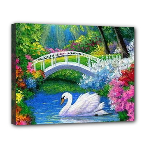 Swan Bird Spring Flowers Trees Lake Pond Landscape Original Aceo Painting Art Canvas 14  X 11