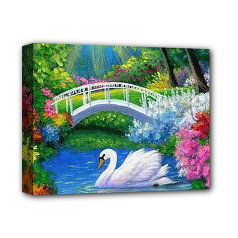 Swan Bird Spring Flowers Trees Lake Pond Landscape Original Aceo Painting Art Deluxe Canvas 14  x 11