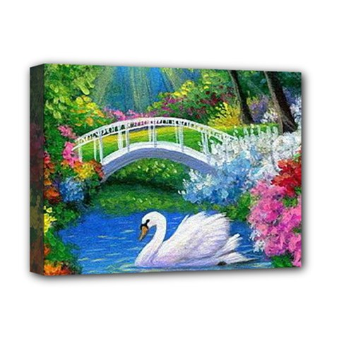 Swan Bird Spring Flowers Trees Lake Pond Landscape Original Aceo Painting Art Deluxe Canvas 16  X 12