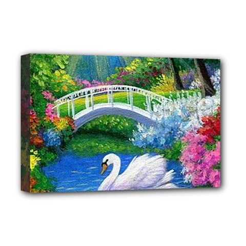 Swan Bird Spring Flowers Trees Lake Pond Landscape Original Aceo Painting Art Deluxe Canvas 18  x 12