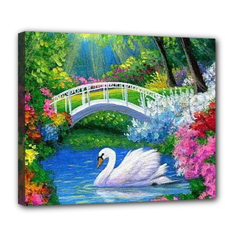 Swan Bird Spring Flowers Trees Lake Pond Landscape Original Aceo Painting Art Deluxe Canvas 24  X 20