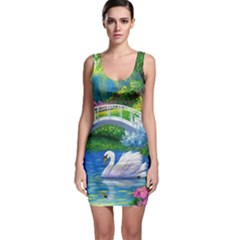 Swan Bird Spring Flowers Trees Lake Pond Landscape Original Aceo Painting Art Sleeveless Bodycon Dress