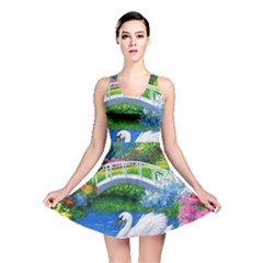 Swan Bird Spring Flowers Trees Lake Pond Landscape Original Aceo Painting Art Reversible Skater Dress