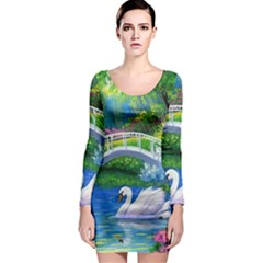 Swan Bird Spring Flowers Trees Lake Pond Landscape Original Aceo Painting Art Long Sleeve Bodycon Dress