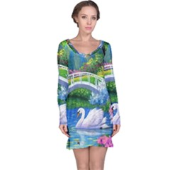 Swan Bird Spring Flowers Trees Lake Pond Landscape Original Aceo Painting Art Long Sleeve Nightdress