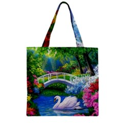 Swan Bird Spring Flowers Trees Lake Pond Landscape Original Aceo Painting Art Zipper Grocery Tote Bag
