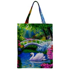 Swan Bird Spring Flowers Trees Lake Pond Landscape Original Aceo Painting Art Zipper Classic Tote Bag