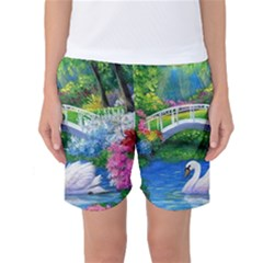Swan Bird Spring Flowers Trees Lake Pond Landscape Original Aceo Painting Art Women s Basketball Shorts