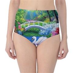 Swan Bird Spring Flowers Trees Lake Pond Landscape Original Aceo Painting Art High Waist Bikini Bottoms