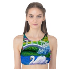Swan Bird Spring Flowers Trees Lake Pond Landscape Original Aceo Painting Art Tank Bikini Top