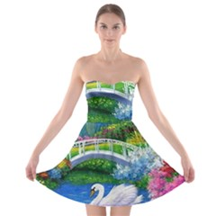 Swan Bird Spring Flowers Trees Lake Pond Landscape Original Aceo Painting Art Strapless Bra Top Dress