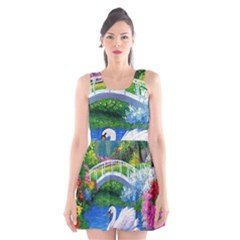 Swan Bird Spring Flowers Trees Lake Pond Landscape Original Aceo Painting Art Scoop Neck Skater Dress